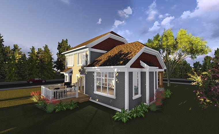 Bungalow, Cottage, Craftsman House Plan 75230 with 3 Beds, 2 Baths, 3 Car Garage Rear Elevation