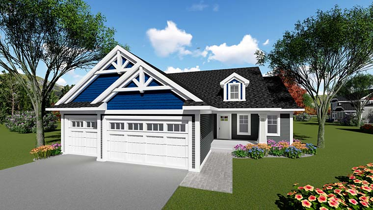 Country, Craftsman House Plan 75255 with 3 Beds, 2 Baths, 3 Car Garage Elevation