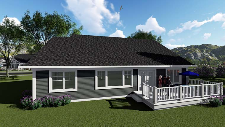 Country, Craftsman House Plan 75255 with 3 Beds, 2 Baths, 3 Car Garage Rear Elevation