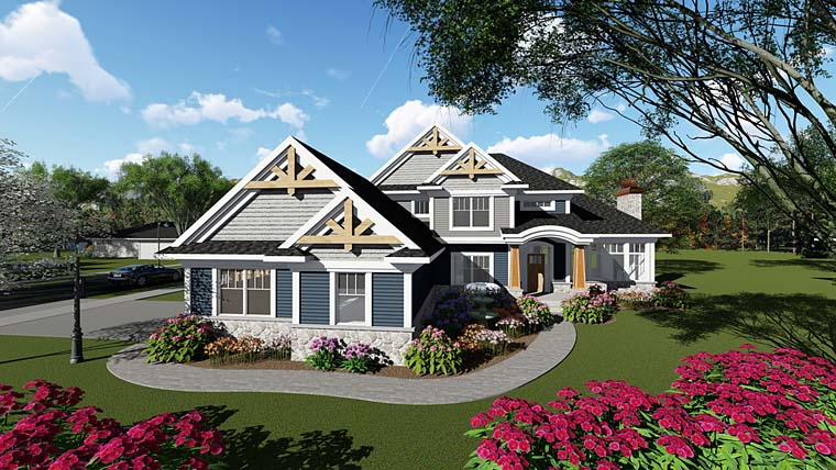 Bungalow, Cottage, Craftsman House Plan 75269 with 4 Beds, 3 Baths, 3 Car Garage Elevation