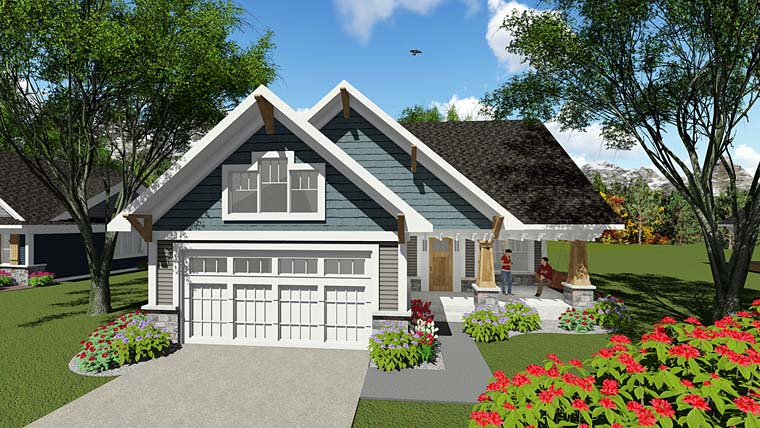 Bungalow, Cottage, Craftsman, Southern, Traditional House Plan 75277 with 2 Beds, 1 Baths, 2 Car Garage Elevation