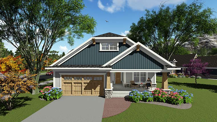Cottage, Country, Craftsman House Plan 75285 with 2 Beds, 2 Baths, 2 Car Garage Elevation