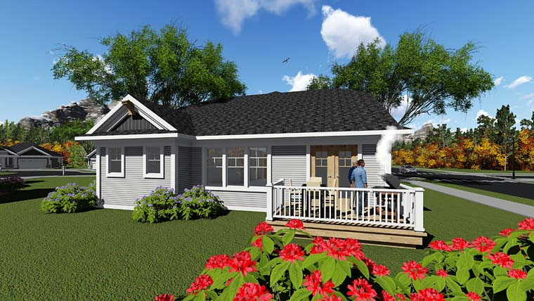 Cottage, Country, Craftsman House Plan 75285 with 2 Beds, 2 Baths, 2 Car Garage Rear Elevation