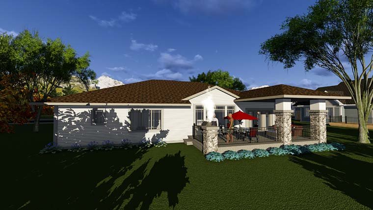 Contemporary, Prairie, Southwest House Plan 75291 with 2 Beds, 2 Baths, 3 Car Garage Rear Elevation