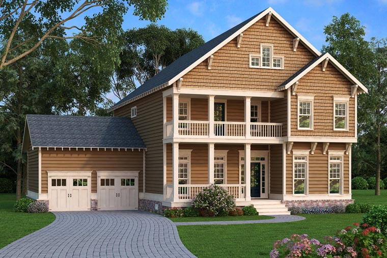 Coastal, Colonial, Craftsman, Southern House Plan 75310 with 4 Beds, 3 Baths, 2 Car Garage Elevation