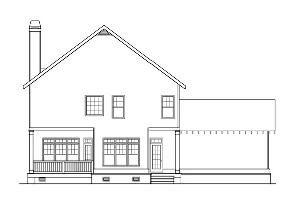 Coastal, Colonial, Craftsman, Southern House Plan 75310 with 4 Beds, 3 Baths, 2 Car Garage Rear Elevation