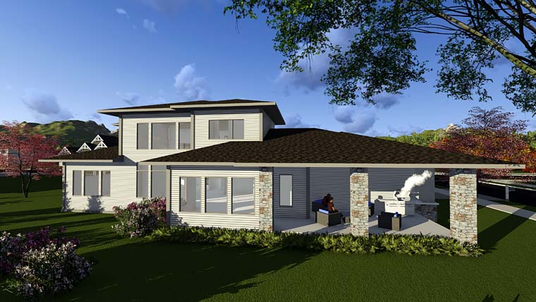 Contemporary, Prairie, Southwest House Plan 75405 with 3 Beds, 4 Baths, 8 Car Garage Rear Elevation