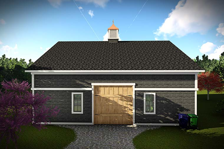 European 2 Car Garage Plan 75422 Rear Elevation