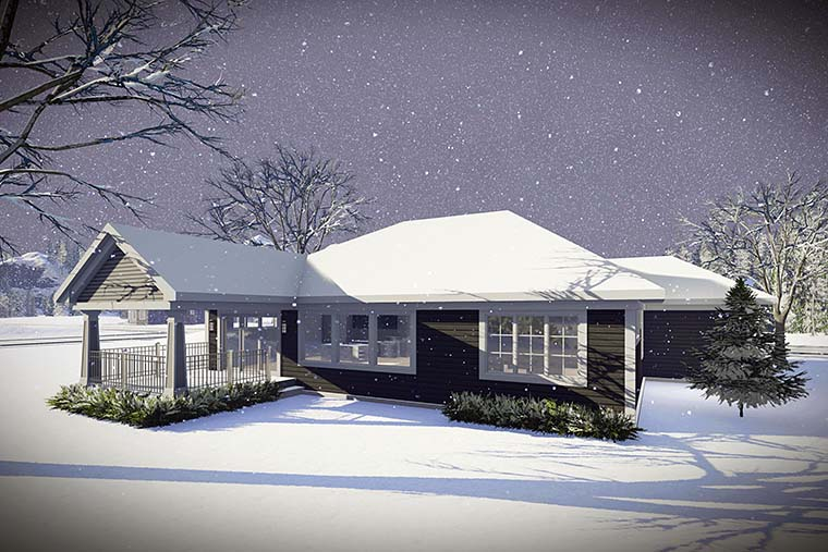 Cottage, Craftsman, Ranch, Traditional House Plan 75429 with 2 Beds, 2 Baths Rear Elevation