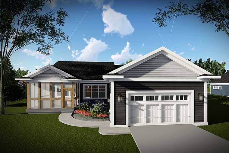 Cottage, Country, Craftsman House Plan 75430 with 2 Beds, 2 Baths, 2 Car Garage Rear Elevation