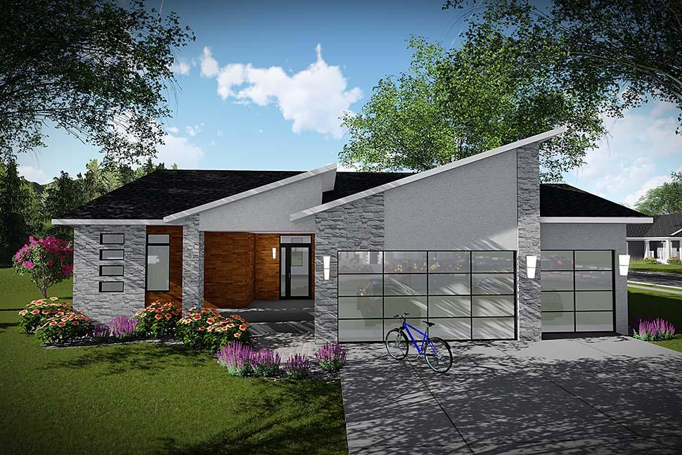 Modern, Ranch House Plan 75450 with 3 Beds, 2 Baths, 3 Car Garage Elevation