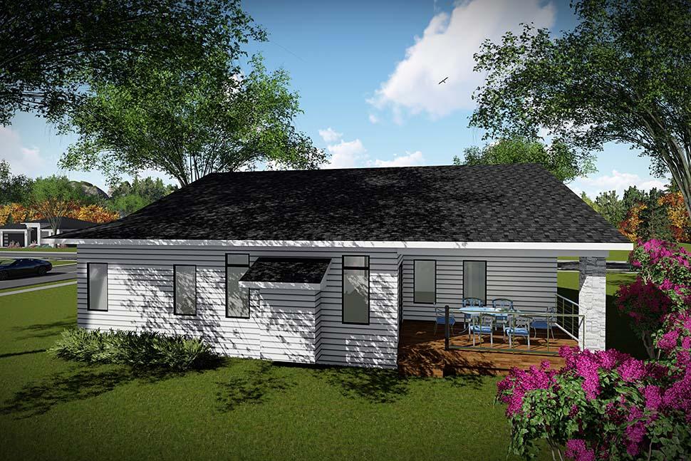 Modern, Ranch House Plan 75450 with 3 Beds, 2 Baths, 3 Car Garage Rear Elevation