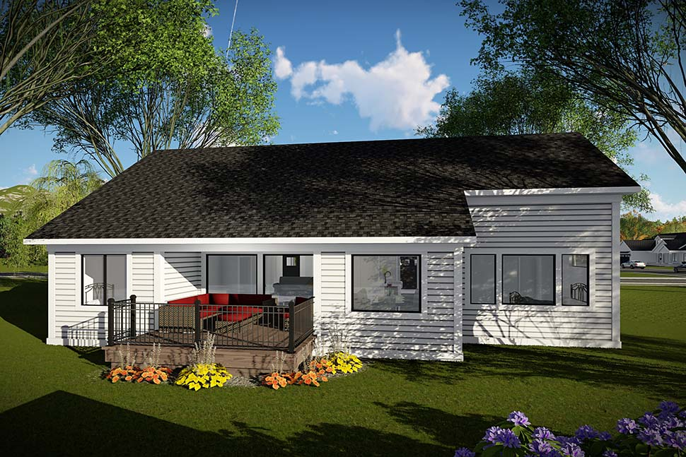 Craftsman, Ranch, Traditional House Plan 75454 with 3 Beds, 2 Baths, 3 Car Garage Rear Elevation