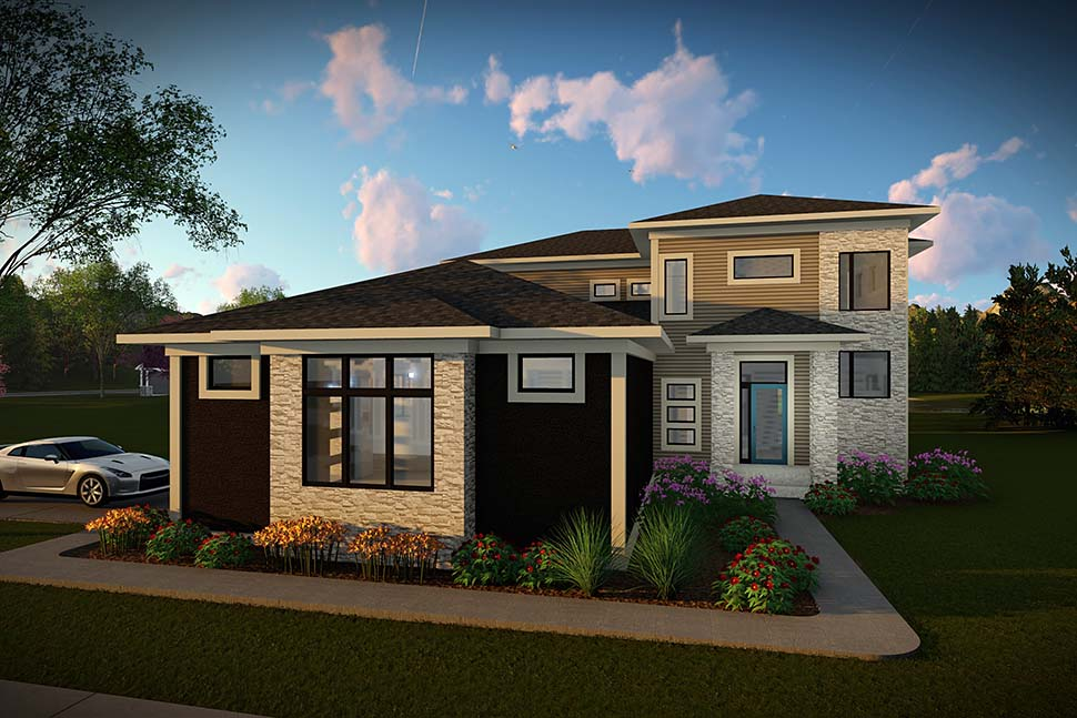 Contemporary, Modern House Plan 75464 with 3 Beds, 3 Baths, 3 Car Garage Picture 1