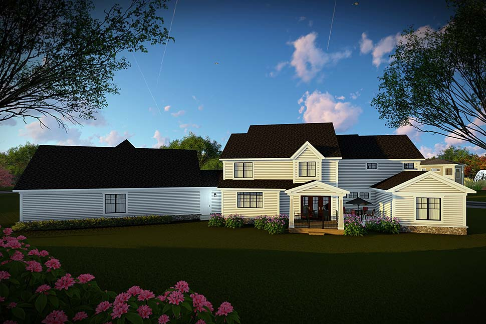 Country, Farmhouse, Southern House Plan 75466 with 5 Beds, 6 Baths, 4 Car Garage Rear Elevation