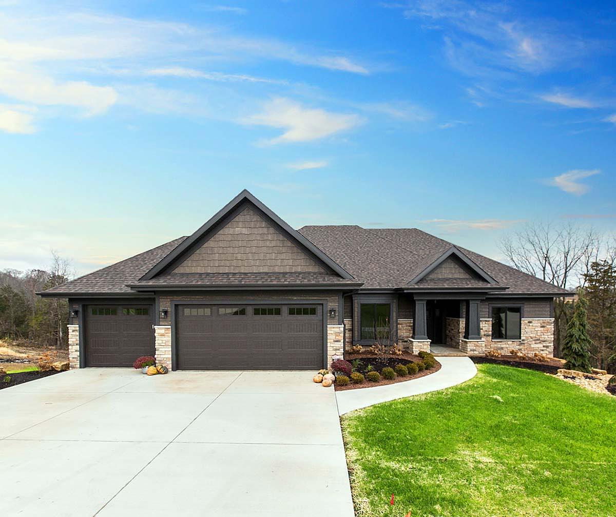 Craftsman, Ranch House Plan 75470 with 4 Beds, 3 Baths, 3 Car Garage Elevation