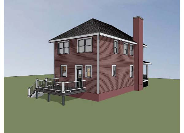 Colonial, Southern House Plan 75503 with 3 Beds, 3 Baths Rear Elevation