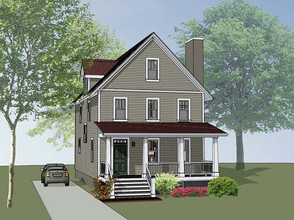 Colonial, Cottage, Southern Plan with 1667 Sq. Ft., 3 Bedrooms, 3 Bathrooms Elevation