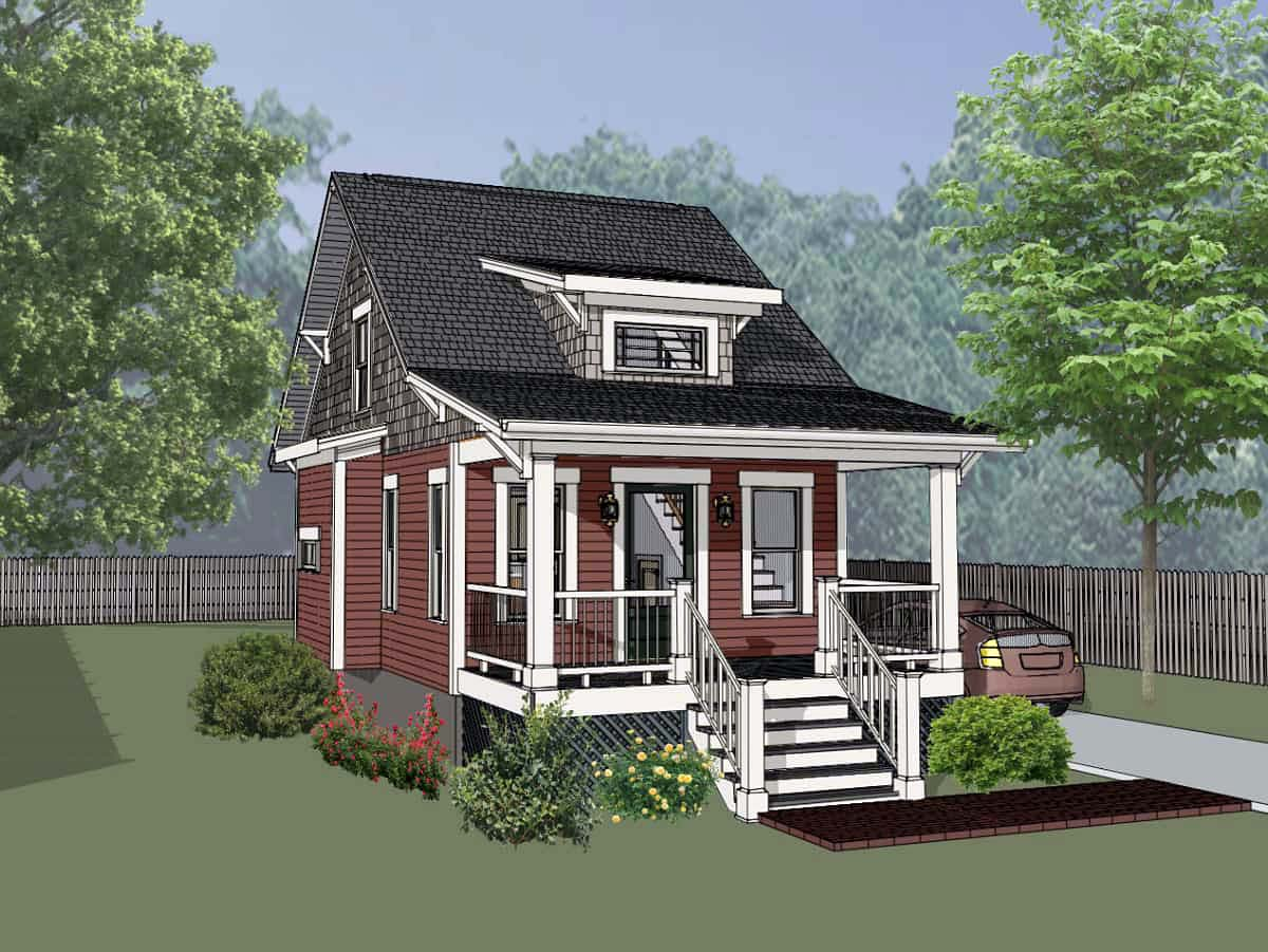 Cottage, Country House Plan 75510 with 1 Beds, 1 Baths Front Elevation