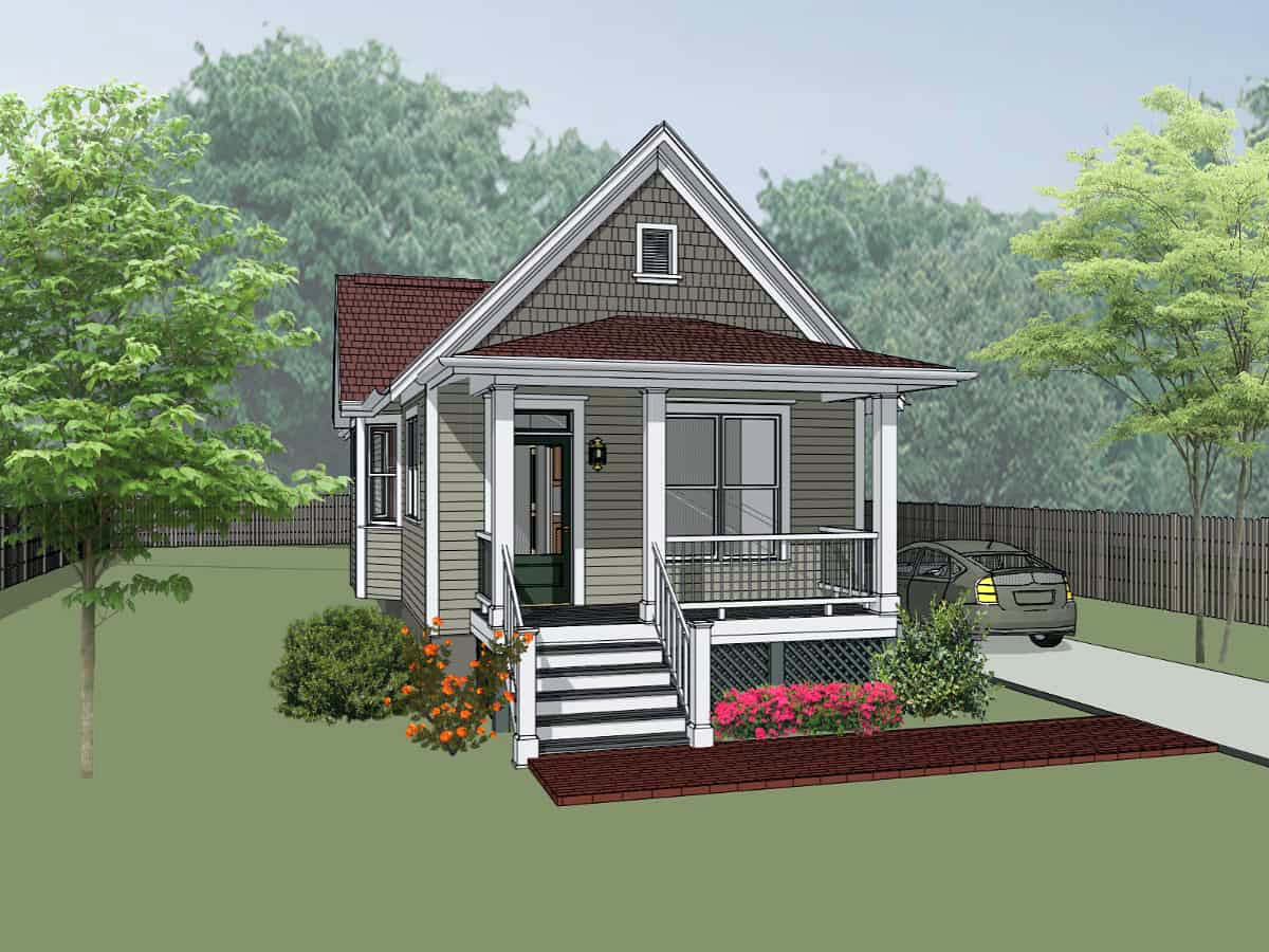 Colonial, Cottage, Southern House Plan 75515 with 2 Beds, 1 Baths Elevation