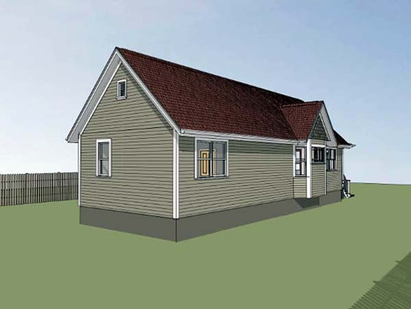 Colonial, Cottage, Southern House Plan 75515 with 2 Beds, 1 Baths Rear Elevation