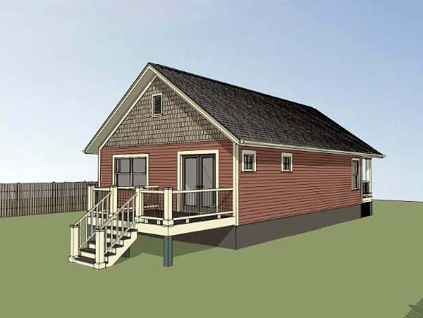 Bungalow House Plan 75516 with 2 Beds, 1 Baths Rear Elevation