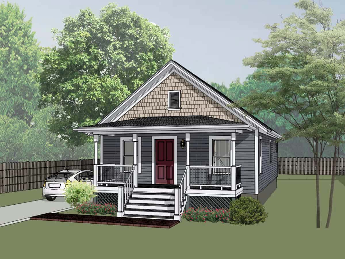 House Plan 75517 - Bungalow Style with 912 Sq Ft, 2 Bed, 1 Bath