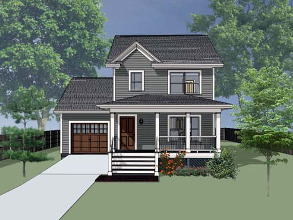 Colonial, Country, Southern House Plan 75520 with 3 Beds, 3 Baths, 1 Car Garage Elevation
