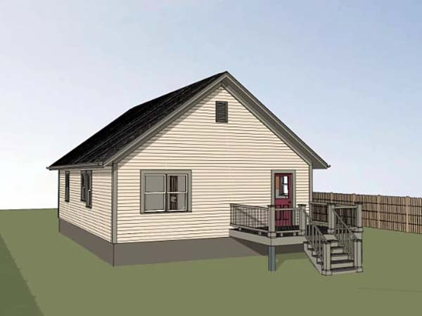 Bungalow House Plan 75524 with 2 Beds, 2 Baths Rear Elevation