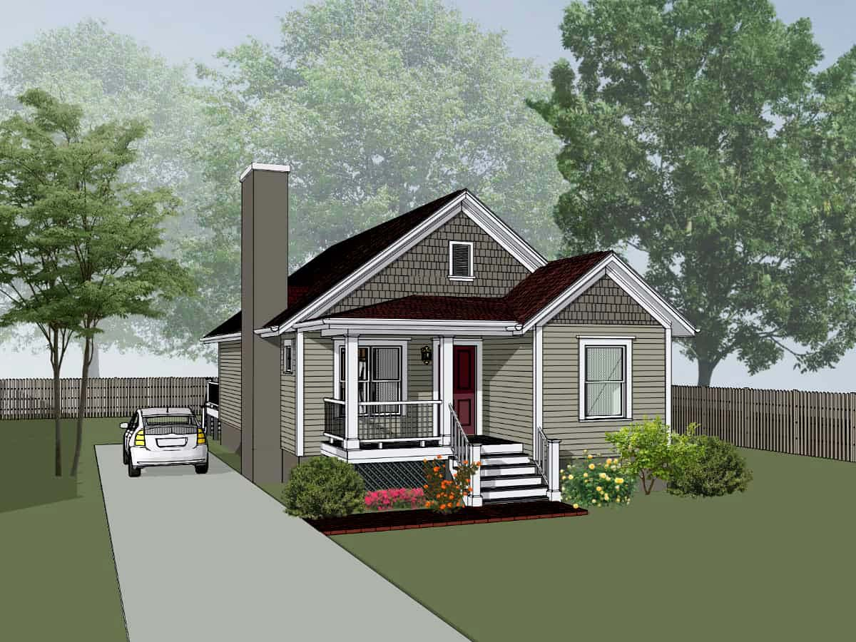 House Plan 75527 Bungalow Style With 1184 Sq Ft 4 Bed 2 Bath
