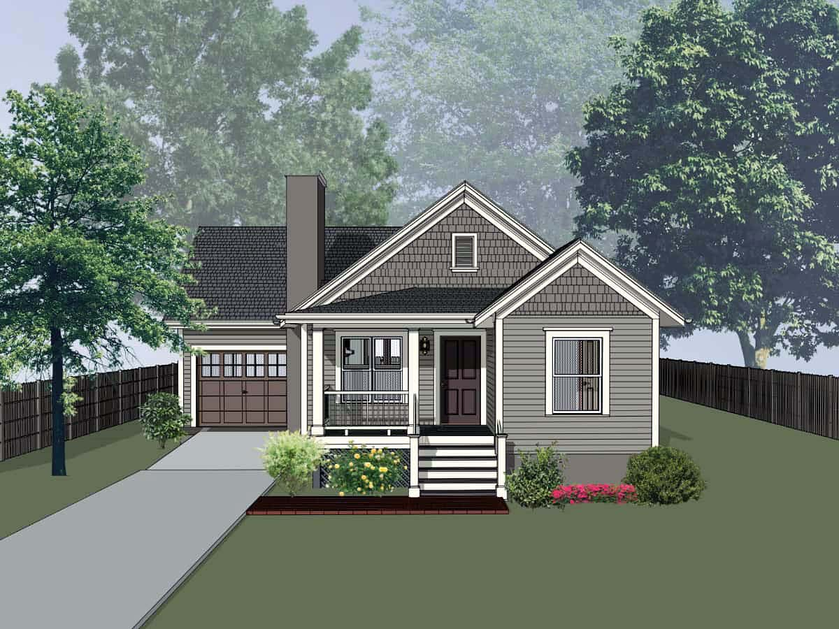 Bungalow, Cottage House Plan 75529 with 4 Beds, 2 Baths, 1 Car Garage Elevation