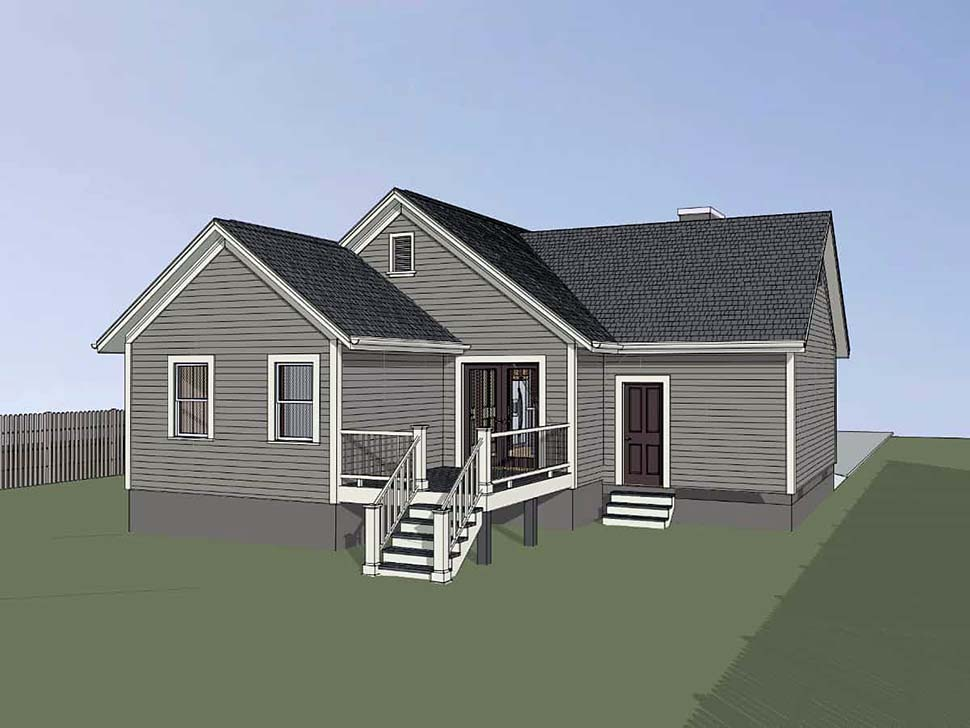 Bungalow, Cottage House Plan 75529 with 4 Beds, 2 Baths, 1 Car Garage Rear Elevation