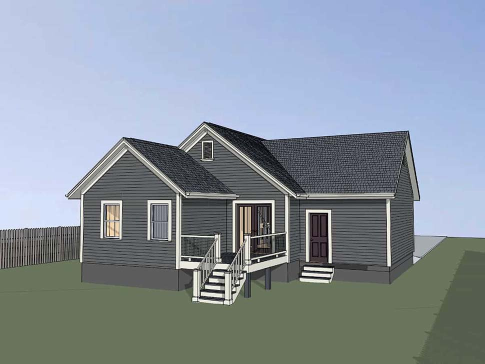 Bungalow, Cottage House Plan 75530 with 4 Beds, 2 Baths, 1 Car Garage Rear Elevation