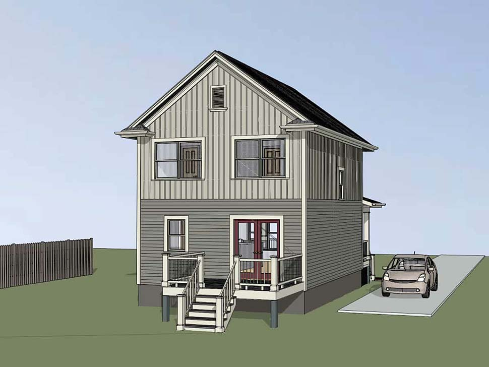 Colonial, Country House Plan 75531 with 3 Beds, 3 Baths Rear Elevation