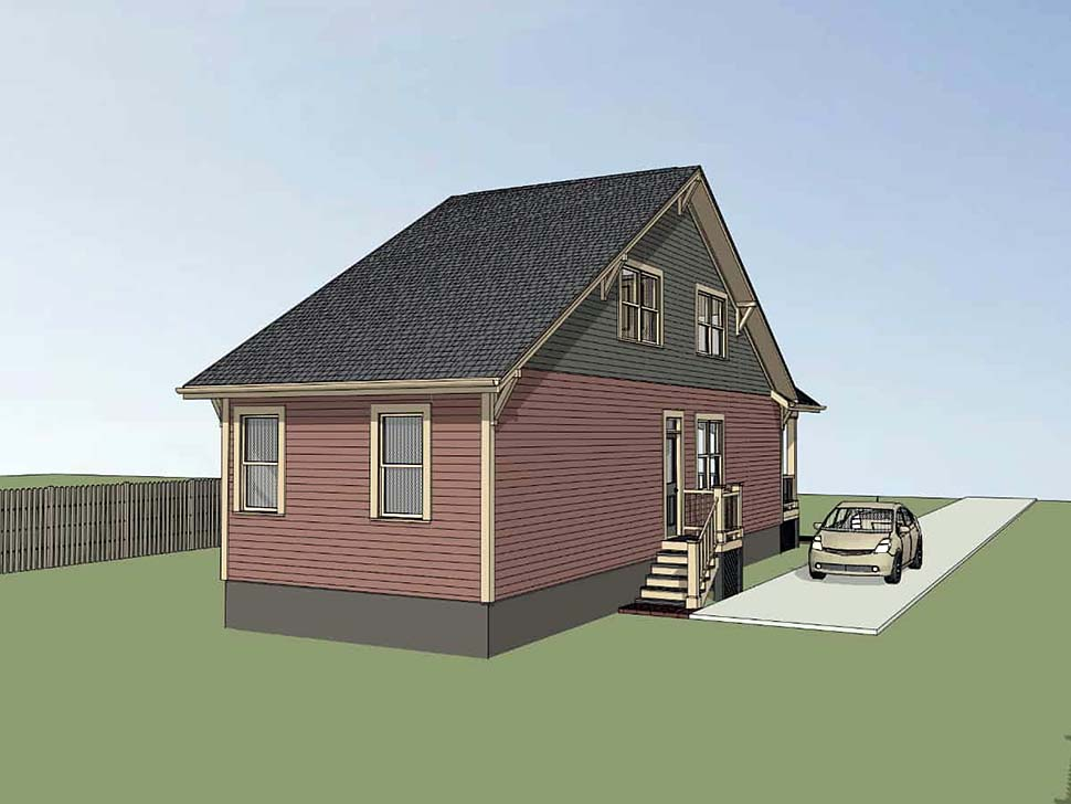 Cottage, Country House Plan 75533 with 3 Beds, 2 Baths Rear Elevation