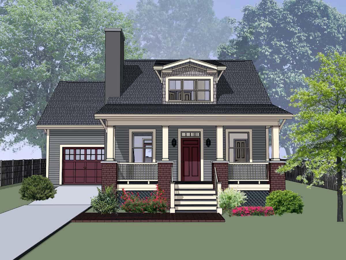 Bungalow, Craftsman House Plan 75535 with 3 Beds, 2 Baths, 1 Car Garage Elevation