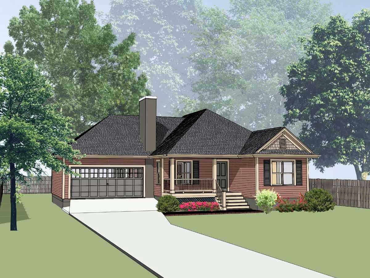 Cottage, Traditional House Plan 75539 with 3 Beds, 2 Baths, 1 Car Garage Front Elevation