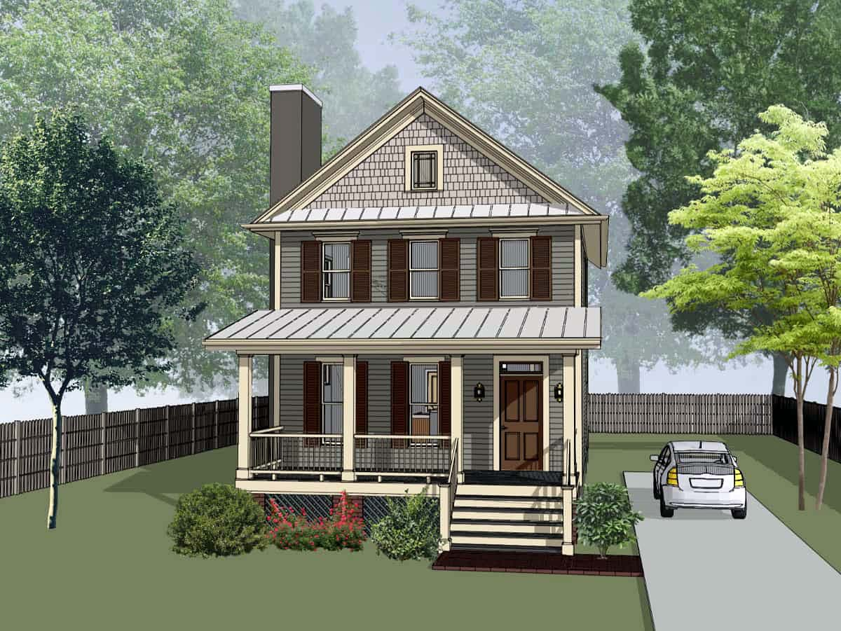 Colonial, Southern House Plan 75540 with 3 Beds, 3 Baths Front Elevation