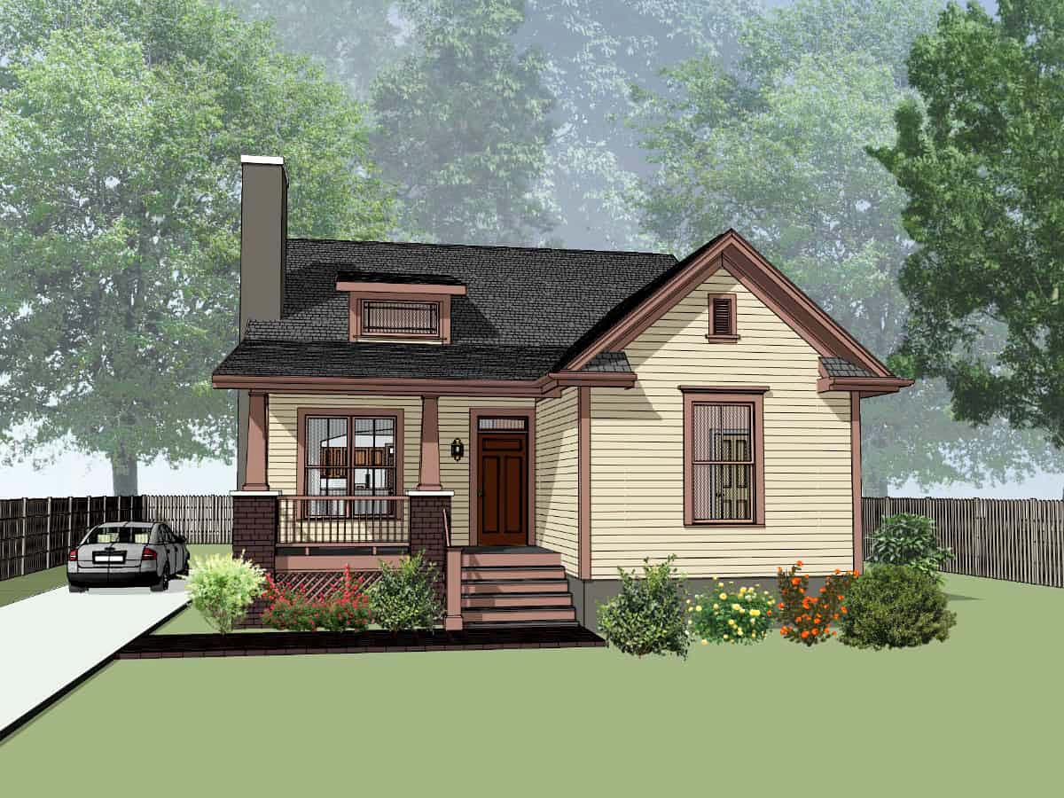 Bungalow, Cottage House Plan 75573 with 3 Beds, 2 Baths Front Elevation