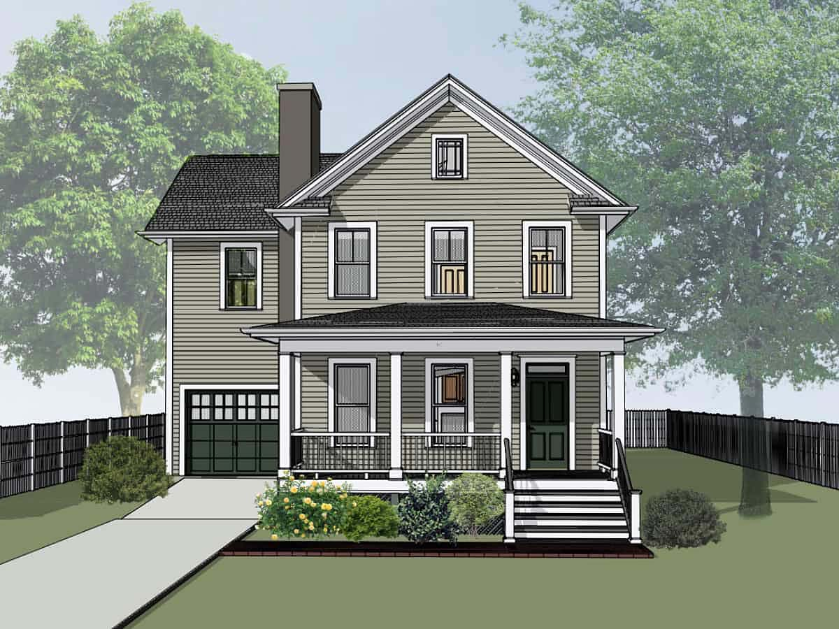 Colonial, Country, Narrow Lot, Southern House Plan 75579 with 4 Beds, 3 Baths, 1 Car Garage Front Elevation