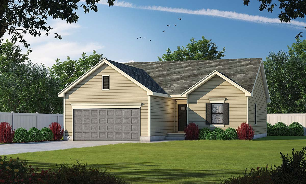 Narrow Lot, One-Story, Traditional House Plan 75706 with 3 Beds, 2 Baths, 2 Car Garage Elevation
