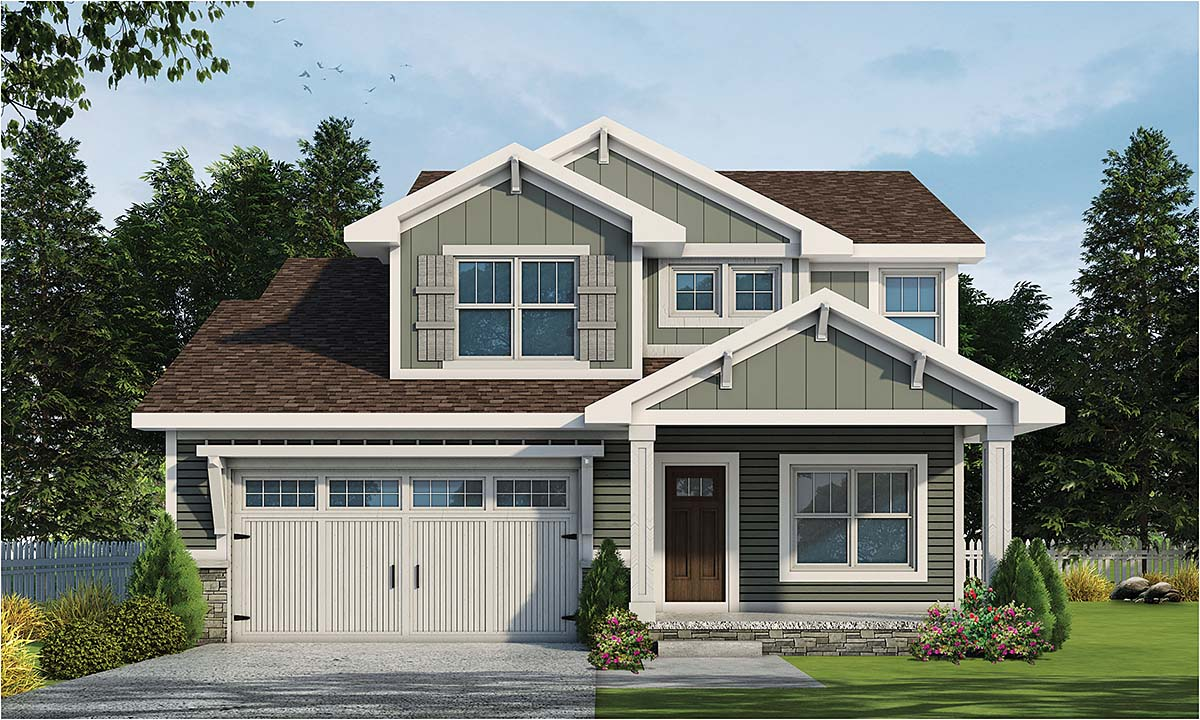 Craftsman, Narrow Lot, Traditional House Plan 75712 with 3 Beds, 3 Baths, 2 Car Garage Elevation