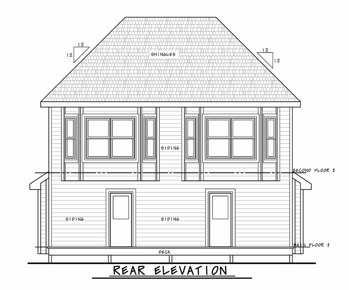 Narrow Lot, Southern, Traditional Multi-Family Plan 75713 with 4 Beds, 6 Baths Rear Elevation