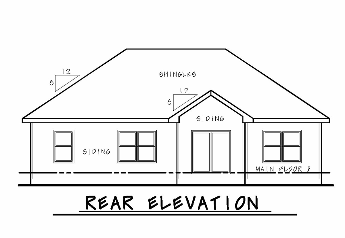 Craftsman, Traditional House Plan 75716 with 3 Beds, 2 Baths, 2 Car Garage Rear Elevation