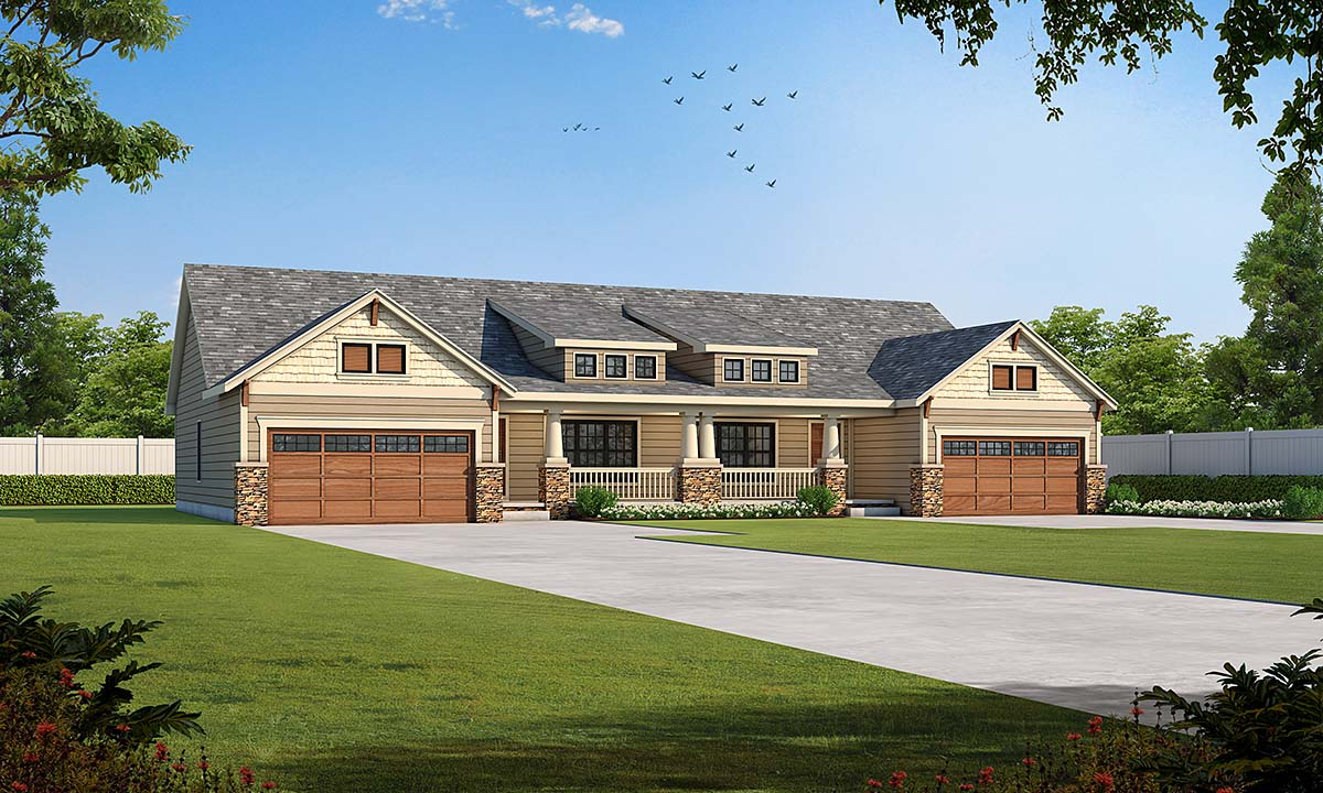 Craftsman Multi-Family Plan 75717 with 6 Beds, 4 Baths, 4 Car Garage Elevation
