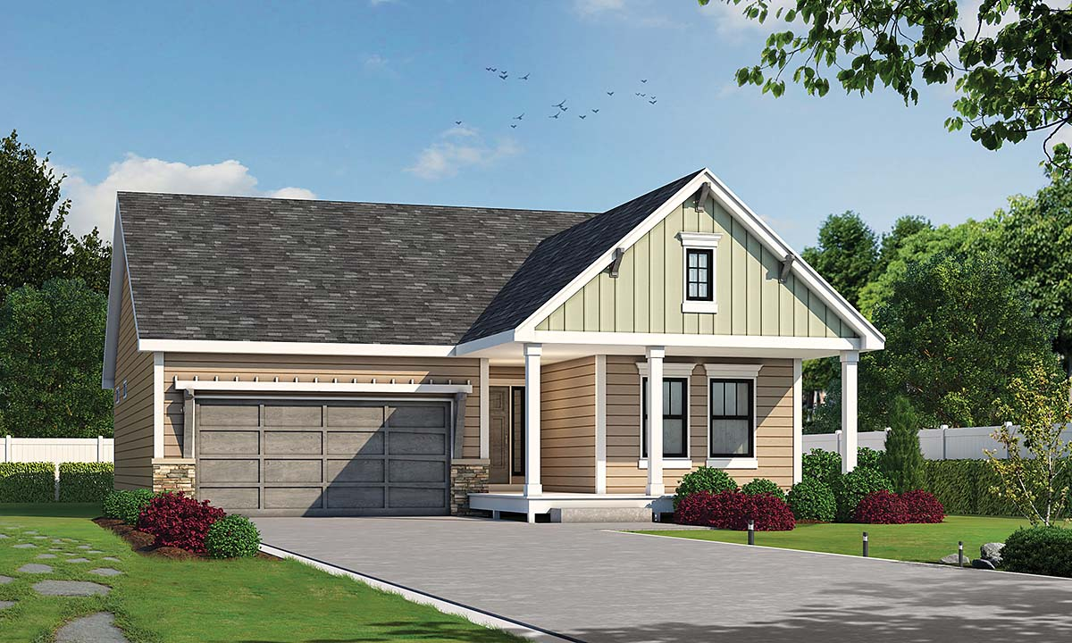 Farmhouse, Ranch, Traditional House Plan 75720 with 3 Beds, 2 Baths, 2 Car Garage Elevation