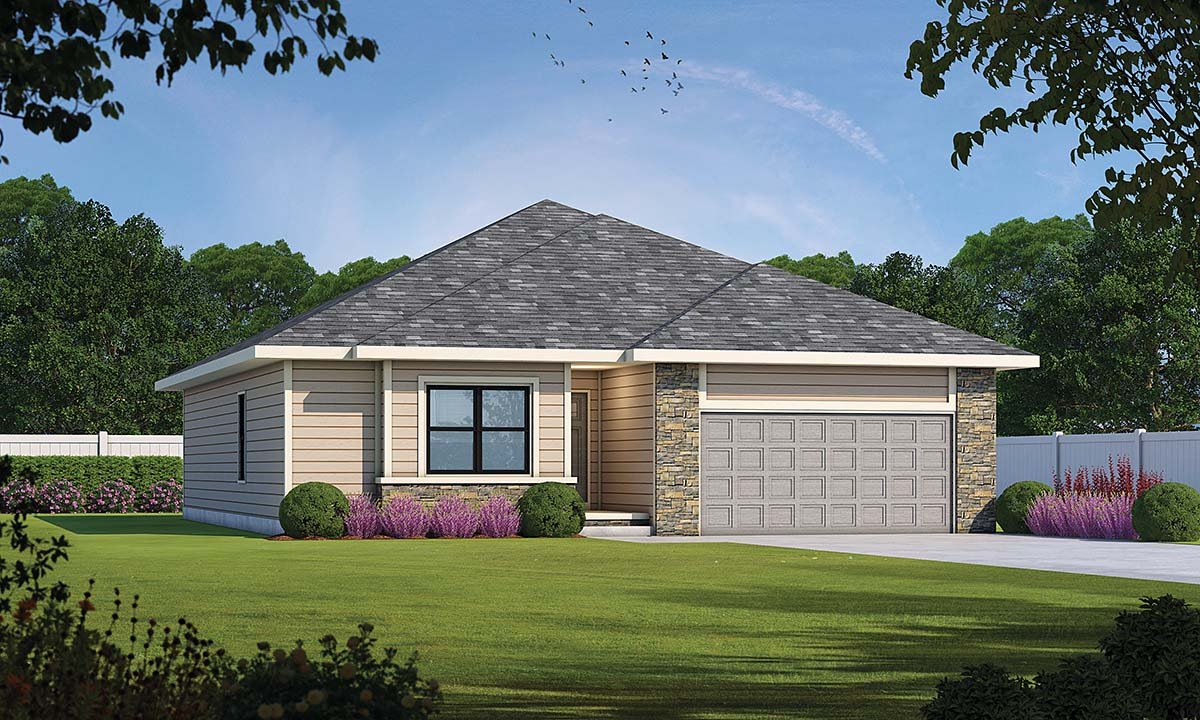 Traditional House Plan 75722 with 3 Beds, 2 Baths, 2 Car Garage Elevation