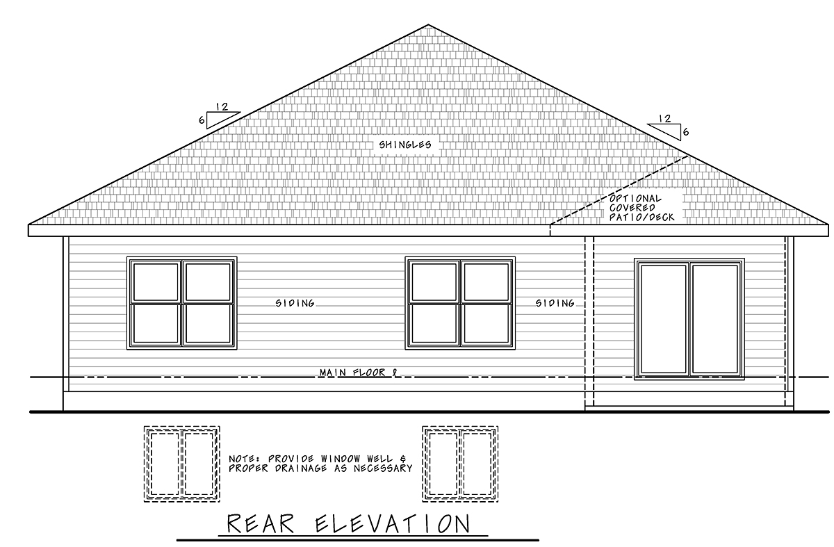 Traditional House Plan 75722 with 3 Beds, 2 Baths, 2 Car Garage Rear Elevation