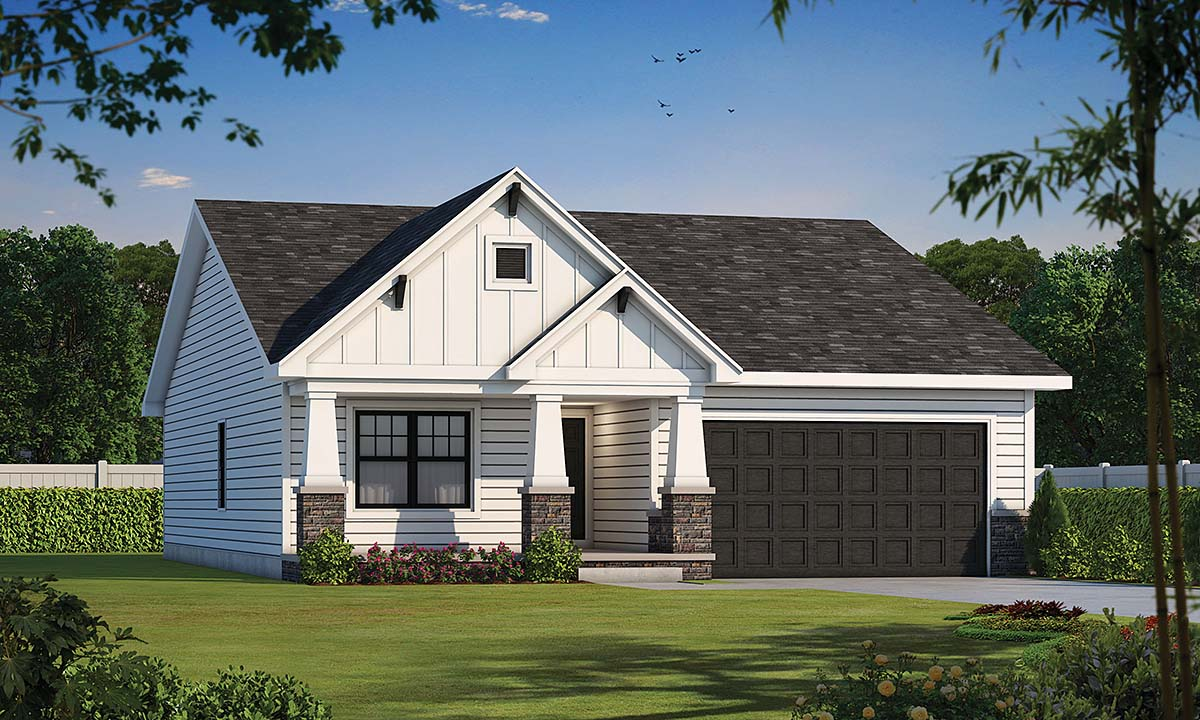 Craftsman, Farmhouse House Plan 75723 with 2 Beds, 2 Baths, 2 Car Garage Elevation