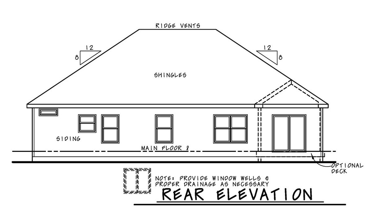 Farmhouse House Plan 75724 with 3 Beds, 3 Baths, 3 Car Garage Rear Elevation